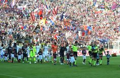 players of Bologna FC and Juventus FC take the pitch during the Serie A match between Bologna FC and Juventus FC at Stadio Renato Dall'Ara on May 27, 2017 in Bologna, Italy.
