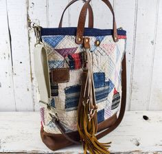 ANTIQUE PATCHWORK Tote Bag Purse Repurposed by 1770mercantile