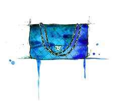 Blue Blue Chanel, #watercolor #illustration #chanel www.jessicaillustration.etsy.com