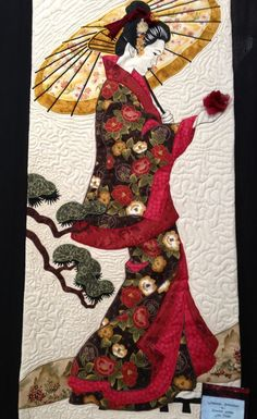 Japanese Woman Quilt Blanket – Care – Skin care , beauty ideas and skin care tips Geisha Kunst, Art Geisha, Japanese Quilt Patterns, Japanese Fabric, Quilting Projects, Quilting Designs, Asian Quilts, Art Asiatique, Art Japonais