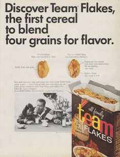 "1965 NABISCO TEAM FLAKES vintage magazine advertisement ""Discover Team Flakes"" ~ Discover Team Flakes, the first cereal to blend four grains for flavor. - National Biscuit Company ~"