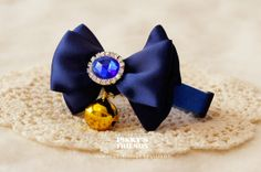 Cute Navy Ribbon Pet Bow Tie Collar with Bell and by PinkysFriends, $18.40