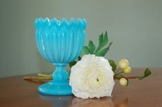 Turquoise Blue Milk Glass Goblet, Compote, Pedestal Candy Dish, Planter, French Portieux Vallerysthal Blue Opaline - SOLD!