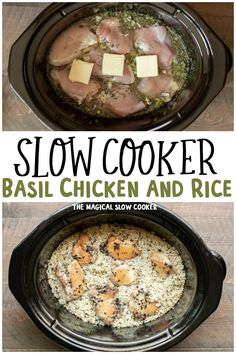 Slow Cooker Basil Chicken and Rice is a complete one-pot meal, no cooking the rice separately. - The Magical Slow Cooker Healthy Crock Pots, Healthy Crockpot Recipes, Beef Recipes, Cooking Recipes, Cooking Gadgets, Crockpot Meals, Pizza Recipes, Recipies, Easy Crockpot Chicken