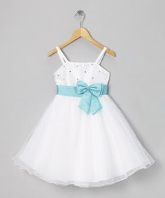Take a look at this White & Blue Bow Dress - Toddler & Girls by Shanil on #zulily today!
