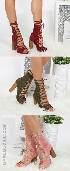 """Walk with confidence in the Lace Up Stacked Heel Ankle Booties! Features an open toe, faux suede upper, and lace up design. Finished with a stacked chunky half cylinder 4.5"""" heel. Top the look with a sheer duster coat!"""