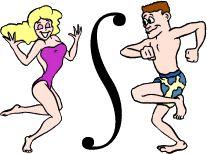 Alfabeto de Hombre y Mujer Bailando en Traje de Baño.