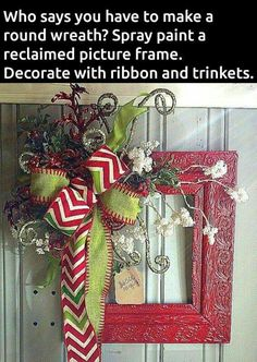. (New Kind a Wreath) Making this idea at our Ladies Craft night at our church! Can't wait