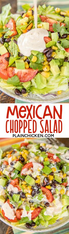 Mexican Chopped Salad - Mexican Chopped Salad – the perfect side to all of your favorite Mexican recipes! Mexican Chopped Salad, Chopped Salad Recipes, Mexican Dishes, Mexican Food Recipes, Hawaiian Recipes, Healthy Eating Tips, Healthy Recipes, Healthy Tuna, Quick Recipes