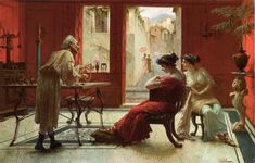 Eduardo Ettore Forti (1880 - 1920) - Afternoon at the Jewelry Shop Oil on canvas 83.5 x 53 cm Private collection
