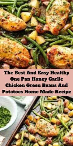 This one pan chicken dinner has the most delicious honey garlic glazed chicken alongside tenderly roasted potatoes and green beans. Chicken Green Beans Potatoes, Oven Green Beans, Sweet Potato Green Beans, Baked Green Beans, Roasted Chicken And Potatoes, Green Beans And Potatoes, Roasted Green Beans, Roasted Chicken Breast, Chicken And Vegetables