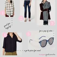 LOFT is having a sale and these are my budget fashion finds: tunic top, cropped flare dark wash jeans, big scarf, versatile black blouse, and blue sunglasses.