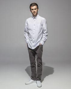 Japanese Crushed Poplin Club Collar Shirt (Grey Stripe) 16 Wale Cord Slim Fit Stretch (Cement)