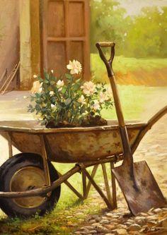 Wheelbarrow Of Roses … Mais Mais Garden Yard Ideas, Garden Art, Garden Tools, Landscape Art, Landscape Paintings, Country Scenes, Country Art, Art Abstrait, Wheelbarrow
