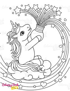 A sweet coloring book full of merry and funny unicorns. Fun adventures of unicorns that meet various animals, fly balloons, dance at the disco, meet fairies and jump on a rainbow. Star Coloring Pages, Unicorn Coloring Pages, Coloring Pages For Kids, Coloring Books, Happy Animals, Rainbow Unicorn, Amazing Adventures, Balloons, Fairy