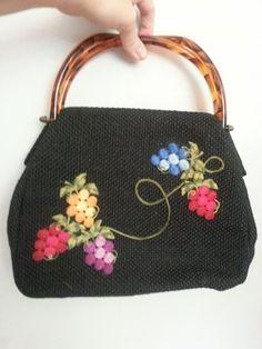 Vintage Purse handbag black fabric w/ grape embroidery & acrylic lucite handles