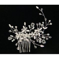 Austrian Crystal With Pearl Hair comb Tiara F1316 for Weddings, Proms, quinceanera or pageants