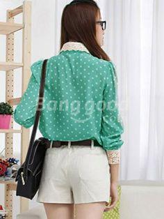 Zanzea® Dots Print Long Sleeve Lace Chiffon Blouses