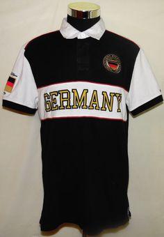 Tommy Hilfiger Germany Heritage Big Logo Vintage 90's Polo Shirt Adult Size L #TommyHilfiger #PoloRugby