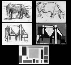 'studies for composition the cow,' theo van doesburg - Dutch - early 20th century abstract artist.