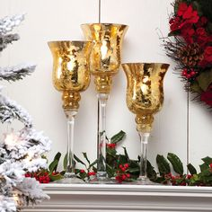 Cypress A Peaceful Christmas Glass Candlestick- A Christmas Collection of 14 Beautiful Candle Holders