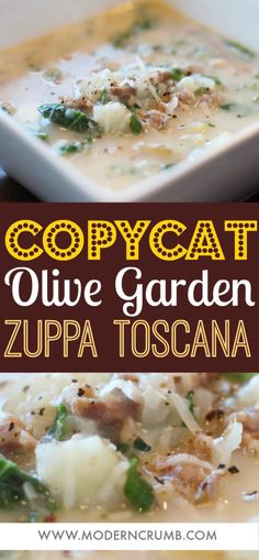Olive Garden Zuppa Toscana Soup Copycat + Video - Modern Crumb - - Tender bites of russet potatoes, sausage and kale all together in a creamy and savory broth. Olive Garden Soups, Olive Garden Zuppa Toscana, Olive Garden Recipes, Vegetable Garden, Garden Plants, Copycat Zuppa Toscana, Zuppa Toscana Suppe, Frases, Sausages
