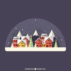 Vector art. Snowy village in snow globe? Christmas and holiday. Office party flyer and invitations.