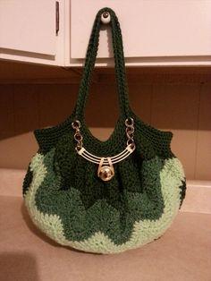 Crochet A (Chevron Stitch) Handbag Purse Tutorial
