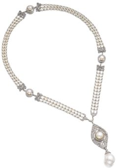 Natural pearl, seed pearl and diamond necklace, 1920s.  The openwork plaque set…