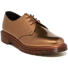Dr. Martens 1461 Oxford ($60) ❤ liked on Polyvore featuring shoes, oxfords, copper, dr martens shoes, platform oxfords, low heel shoes, platform lace up shoes et small heel shoes