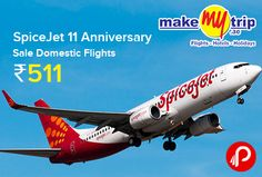 MakeMyTrip is brings #SpiceJet 11 #Anniversary Sale and offering #DomesticFlights starting @ ₹511 #InternationalFlights @ ₹2,111. Booking Validity: Between 17th May'16 to 19th May'16 (all dates inclusive). Between 15th June'16 and 30th Sept'16 (all dates inclusive) for #Domestic #flights. Between 1st June'16 and 20th July'16 (all dates inclusive) for #International #flights.  http://www.paisebachaoindia.com/spicejet-11-anniversary-sale/