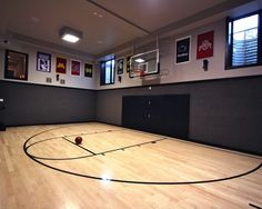 Home Court- I would transform my entire basement into this room if I had Higher Ceilings ! I would love this for my kids,my husband, and me ! How cool is that ! justsydne
