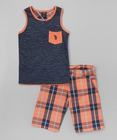 Look at this Orange & Blue Plaid Tank & Shorts - Infant, Toddler & Boys on #zulily today!