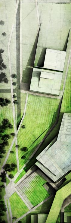 Again, not a perspective but a beautiful subtle and textured landscape plan. By Alex Hogrefe.