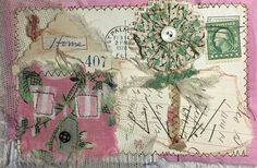 Altered art mixed media paper & fabric collage by needletraditions