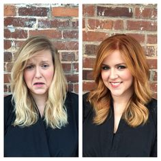 Took Libby from blonde to strawberry blonde! #strawberryblonde #beforeandafter…