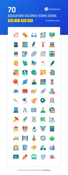 Education Colored Icons Icon Pack - 70 Flat Icons
