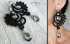 Soutache Earrings, Handmade Earrings, Hand Embroidered, Soutache Jewelry, Handmade from Italy, OOAK --------------------------------------- Earrings handmade by me with soutache embroidery technique. ITEM DETAILS: -Colors: black, silver -Materials: soutache string, beads, Swarovski