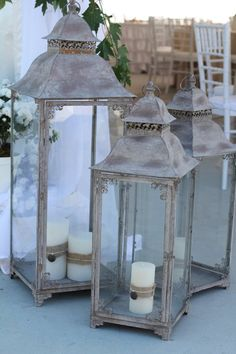 ** Have a look at lanterns (wedding ceremony by Previous, New, Borrowed & Blue Wedding ceremony and Occasion Planning). Old Lanterns, Large Lanterns, Wedding Lanterns, Wedding Decorations, Diy Wedding Reception, Lakeside Wedding, Blue Wedding, Wedding Ideas, Hurricane Lamps