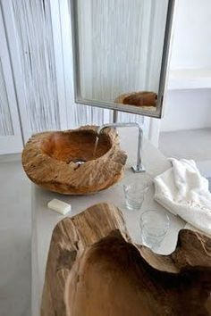 clever wood sinks at blog French By Design: Escape to Mykonos