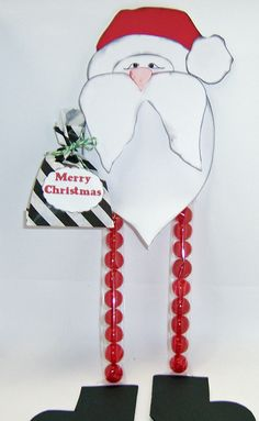 Santa long legs cello bag treat holder...pattern and cello bags available here.