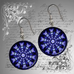 Fractal Flowers Round Wood Tile Earrings  Unique by DBLDCreations, $9.00