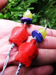 Long Beaded Hemp Earrings with Gemstone by TheHempButterfly, $10.00