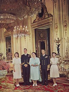 This happy family group was taken just after Princess Elizabeth had announced her engagement to Lieutenant Philip Mountbatten, R.N. the Duke of Edinburgh. Taken at Buckingham Palace in the late 1940s. Via sue-tarr on Flickr.