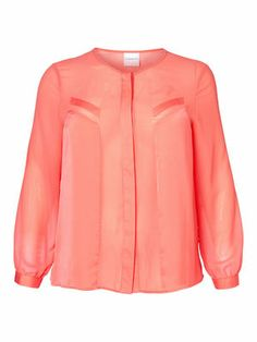 ROSIE L/S SHIRT - Beautiful sheer blouse, perfect for summer! #junarose #sheer #pink #plussize #fashion @David Rose
