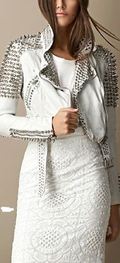 Handmade white Color in belted and long collar style Studded Leather Jacket #Handmade #BasicJacket