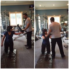 """#repost @taffidollar """"Creflo & I working out. He encourages me daily to drink water - be fit & exercise."""""""