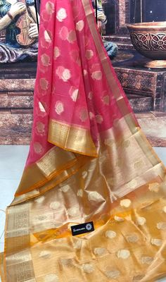 Buy latest pink color pure kora handloom sarees with blouse Kora Silk Sarees, Handloom Saree, Half Saree Lehenga, Saree Blouse Neck Designs, Saree Styles, Pink Color, Gowns, Pure Products, Clothes For Women