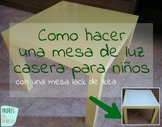 Como hacer una mesa de luz casera para niños. Con una mesa de Ikea, pocos euros y un par de tardes libres tendrás tu mesa de luz casera