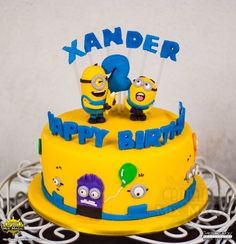 Minions Party Custom Cake – Captain's Mix and Magic / Captain's Sweet Galley of Treats Happy 2nd Birthday, Birthday Cake, Minion Cookies, Minions 1, Minion Party, Character Cakes, Pound Cake, Custom Cakes, Fondant